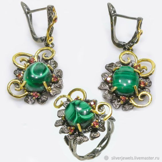 Set of silver with malachite and rhodolite, Jewelry Sets, Moscow,  Фото №1