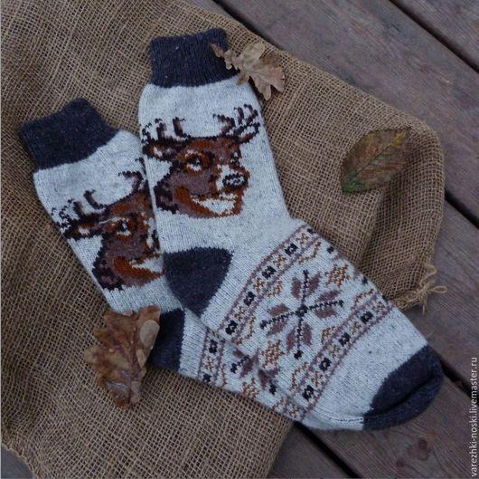 Носки, Чулки ручной работы. Ярмарка Мастеров - ручная работа. Купить Носки мужские шерстяные с узорами. Handmade. Шерсть 100%