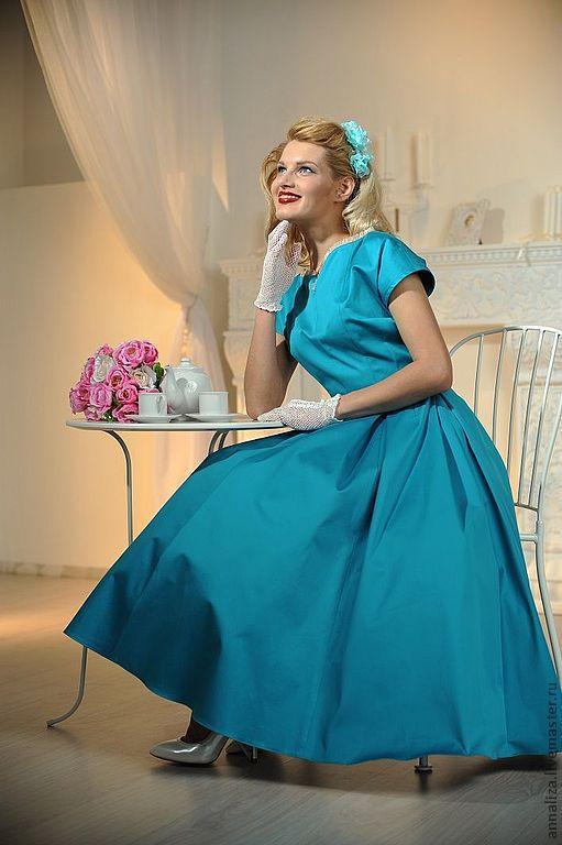 """Платья ручной работы. Ярмарка Мастеров - ручная работа. Купить Ретро платье в стиле 50-х """"Бирюза - цвет счастья"""". Handmade."""