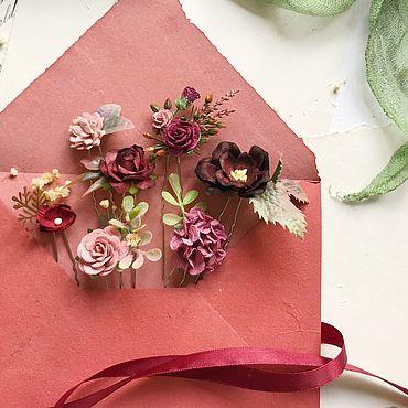 Свадебный салон ручной работы. Ярмарка Мастеров - ручная работа Шпильки c бордовыми цветами, шпильки для невесты. Handmade.