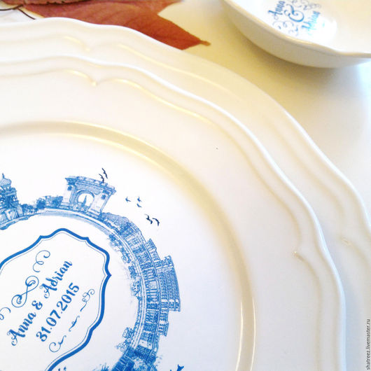 Тарелки ручной работы. Ярмарка Мастеров - ручная работа. Купить Именная тарелка. Деколь. Handmade. Белый, монограмма, памятный подарок
