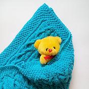 Для дома и интерьера ручной работы. Ярмарка Мастеров - ручная работа Голубой плед для малыша,  спицами. Handmade.