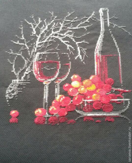 Вышивка натюрморт на красном