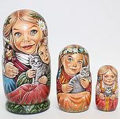 Русский стиль ручной работы. Ярмарка Мастеров - ручная работа матрешка 3-х местная. Handmade.