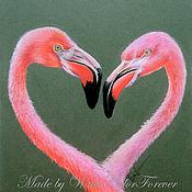 Картины и панно ручной работы. Ярмарка Мастеров - ручная работа Картина пастелью Фламинго. Handmade.
