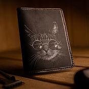 Канцелярские товары handmade. Livemaster - original item Passport cover. the cat is the Boss.. Handmade.
