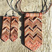 Украшения ручной работы. Ярмарка Мастеров - ручная работа Кулон и серьги  в стиле Бохо в коричневых оттенках. Handmade.