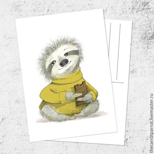 Открытки на все случаи жизни ручной работы. Ярмарка Мастеров - ручная работа. Купить Почтовая открытка «Тёплый ленивец». Handmade. Оливковый