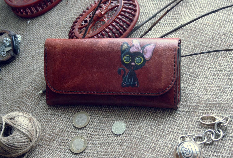 Women's leather wallet with a pattern ' Koteyka', Wallets, Murmansk,  Фото №1
