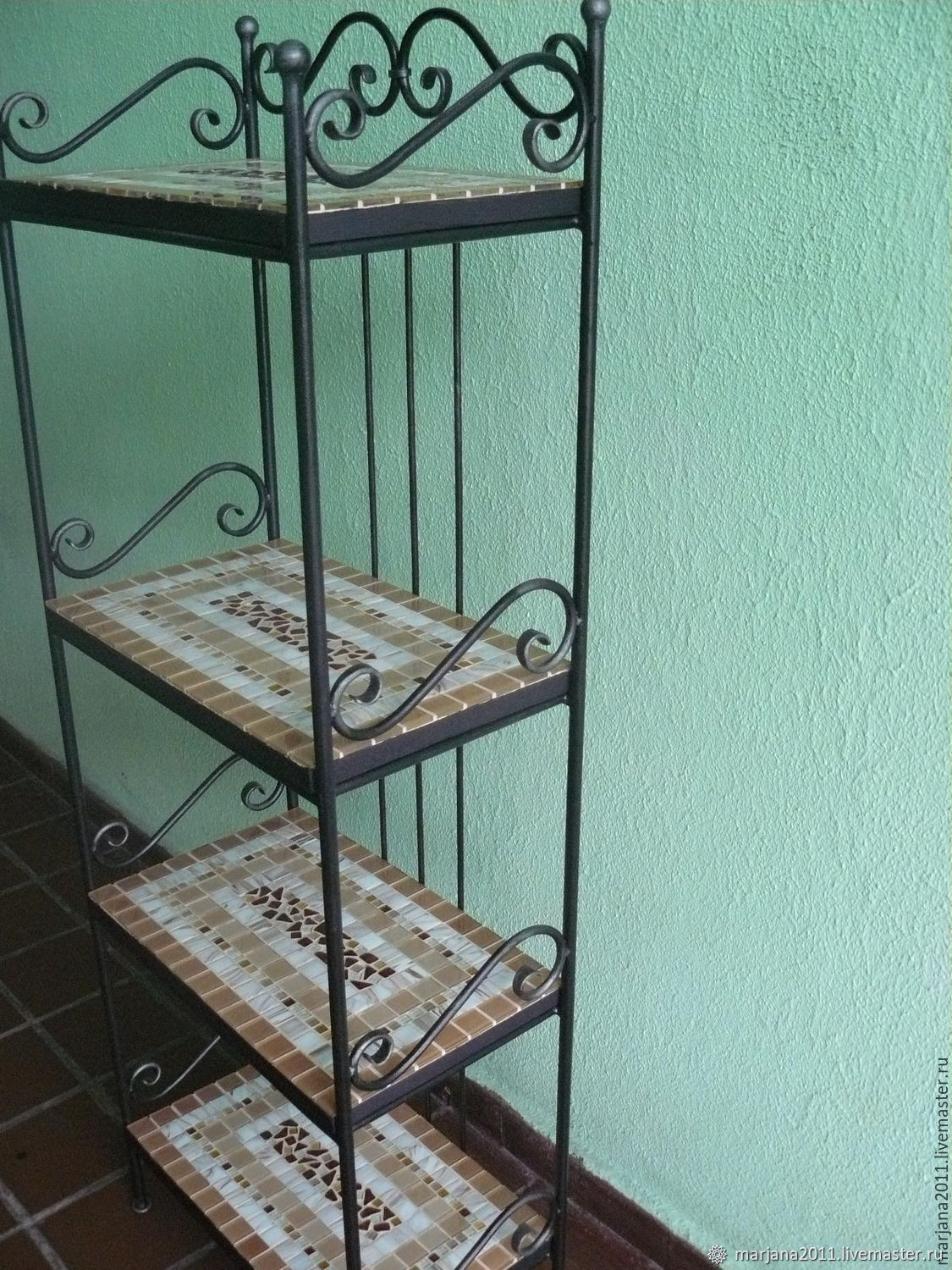 The shelves are wrought iron with mosaic shelves, 'the Goddess dike', Stand, Moscow,  Фото №1