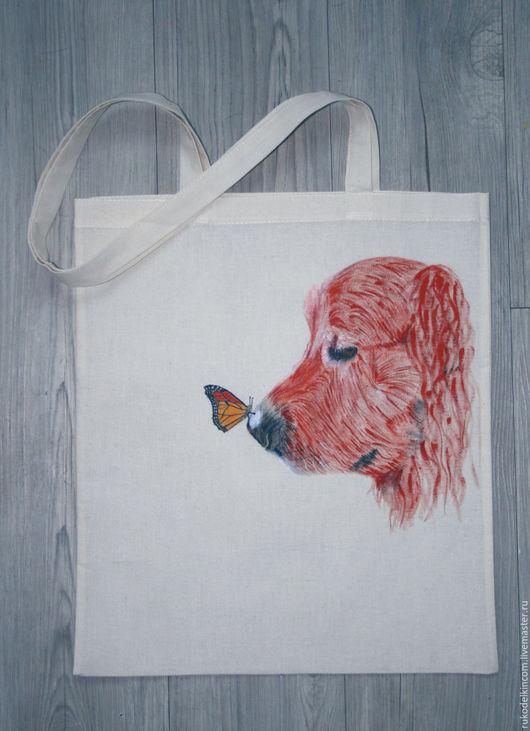Экосумка `Пёс и бабочка`, ручная роспись.