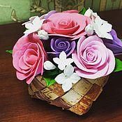 Цветы и флористика ручной работы. Ярмарка Мастеров - ручная работа Нежные розочки в лукошке. Сделано полностью вручную. Цветочки из полим. Handmade.