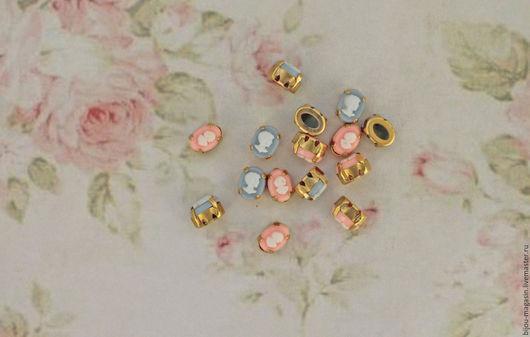 Для украшений ручной работы. Ярмарка Мастеров - ручная работа. Купить Винтажные кристаллы 8х6мм. стразы в оправе цвет розовый и голубой. Handmade.