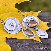 Украшения handmade. Livemaster - original item Sterling silver earrings Autumn, citrine. Handmade.