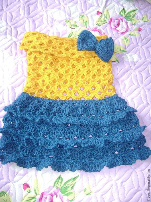 Платья ручной работы. Ярмарка Мастеров - ручная работа. Купить Платье для принцессы. Handmade. Желтый, пряжа детская