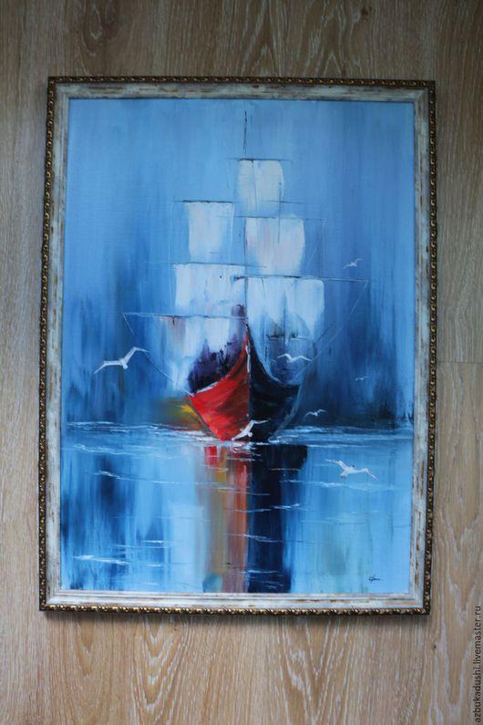 Пейзаж ручной работы. Ярмарка Мастеров - ручная работа. Купить Одинокий парус. Handmade. Корабль, чайка, одинокий, картина