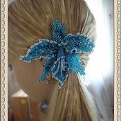 """Украшения ручной работы. Ярмарка Мастеров - ручная работа Заколка  и брошь два в одном """" Голубая орхидея"""". Handmade."""