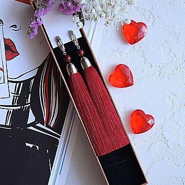 Украшения ручной работы. Ярмарка Мастеров - ручная работа Серьги-кисти «Dark red». Handmade.