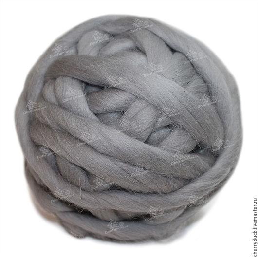 Вязание ручной работы. Ярмарка Мастеров - ручная работа. Купить Толстая пряжа - 100% шерсть. Цвет: пыльный серый. Handmade.