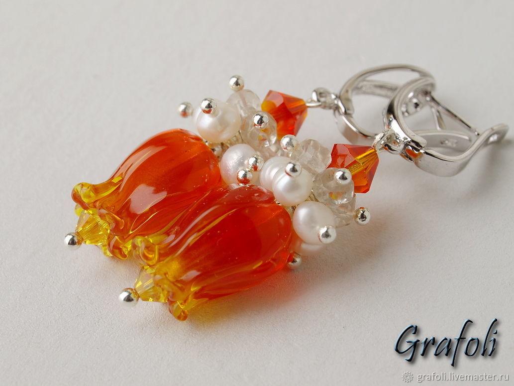Orange flower earrings, Earrings, Moscow,  Фото №1