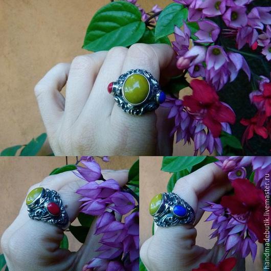 Кольца ручной работы. Ярмарка Мастеров - ручная работа. Купить Кольцо  индийский триглаз с яшмой, лазуритом и кораллом из серебра 925. Handmade.