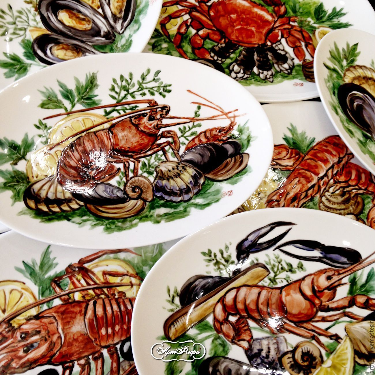 Painted porcelain. The gifts of the Mediterranean sea, Plates, Kazan,  Фото №1