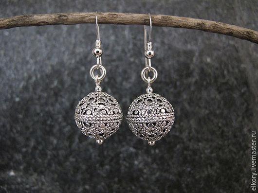 Серебряные серьги. Серьги-шарики. Авторские серьги.Серьги филигрань серебро.ажурные серьги