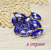Crystals handmade. Livemaster - original item Glass rhinestone 15h7 mm Cobalt in gold and silver rims. Handmade.