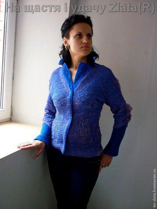 Пиджаки, жакеты ручной работы. Ярмарка Мастеров - ручная работа. Купить Жакет цельноваляный двухсторонний В синем море. Handmade.