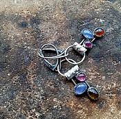 Украшения ручной работы. Ярмарка Мастеров - ручная работа Серьги из серебра Tango (турмалины, танзанит, золото). Handmade.