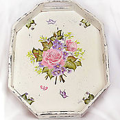 Для дома и интерьера handmade. Livemaster - original item Tray shabby chic painted