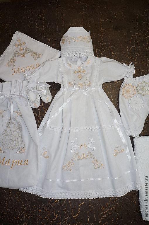 """Крестильные принадлежности ручной работы. Ярмарка Мастеров - ручная работа. Купить Крестильный набор """"Голуби"""". Handmade. Белый, крестильное платье"""