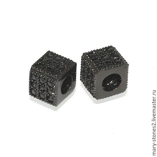 Для украшений ручной работы. Ярмарка Мастеров - ручная работа. Купить Бусина кубик 5мм с  черными фианитами черная. Handmade.