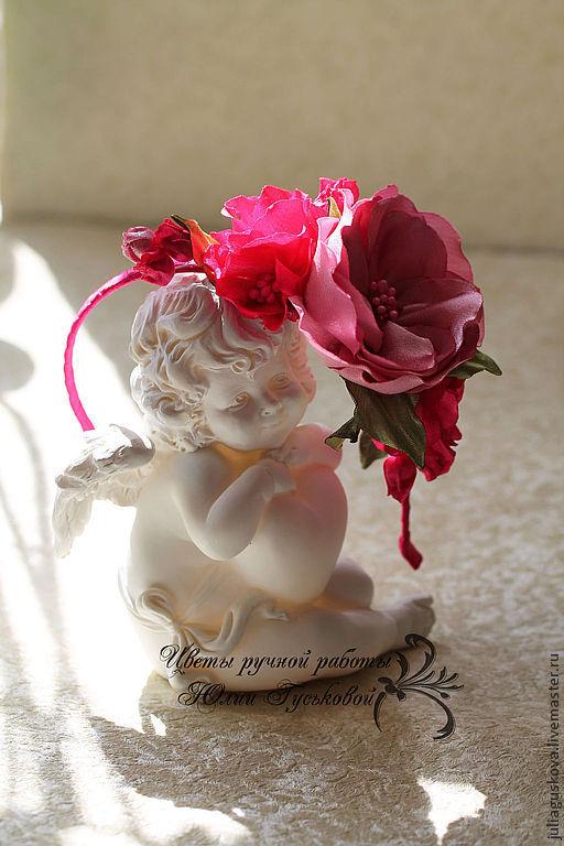Диадемы, обручи ручной работы. Ярмарка Мастеров - ручная работа. Купить Ободок с цветами. Handmade. Розовый, украшение для волос, подарок