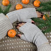 Аксессуары handmade. Livemaster - original item Knitted women`s mitts pearl-gray. Handmade.
