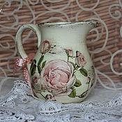"""Посуда ручной работы. Ярмарка Мастеров - ручная работа Кувшин """"Нежность роз"""". Handmade."""
