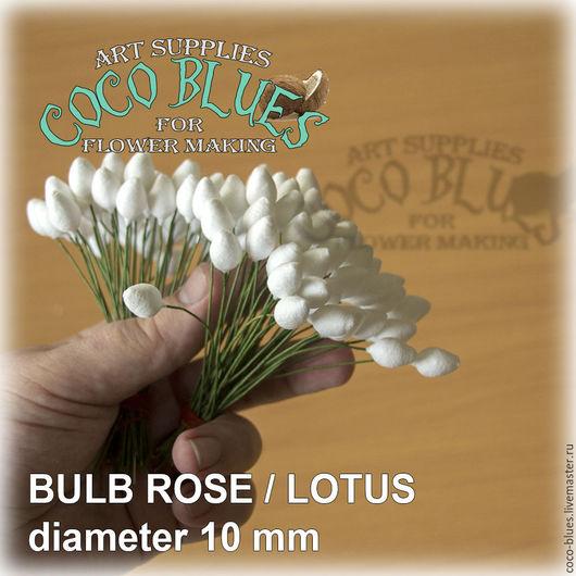 Хлопковые бутоны в форме конуса   10 мм на зеленой проволоке. Количество 100 шт (+,- 5)  `Кокосов Блюз` Таиланд  © Coco Blues (Thailand) Co. Ltd