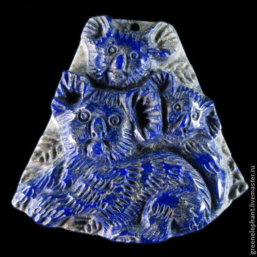 """Для украшений ручной работы. Ярмарка Мастеров - ручная работа. Купить Кулон """"Веселая семейка"""". Handmade. Синий, медведь, семейка"""