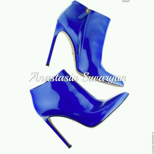 Обувь ручной работы. Ярмарка Мастеров - ручная работа. Купить ботинки. Handmade. Синий, ботинки, ботинки женские