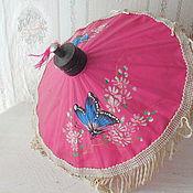 Винтаж ручной работы. Ярмарка Мастеров - ручная работа Старый китайский кукольный зонтик, бамбук, ткань, винтаж. Handmade.