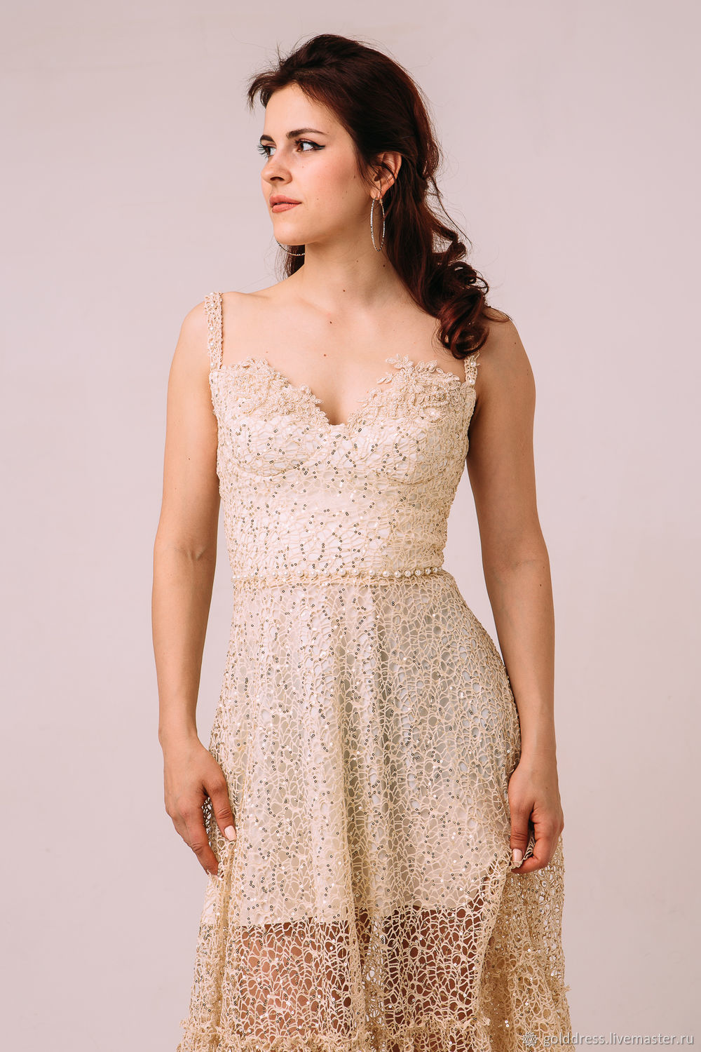 Beige dress with straps – shop online on Livemaster with shipping ...