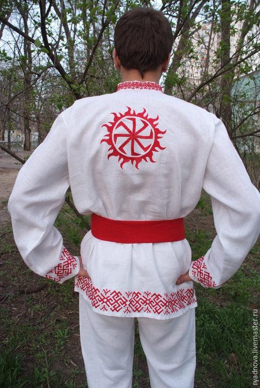 """Одежда ручной работы. Ярмарка Мастеров - ручная работа. Купить Мужская рубаха с поясом """"Колядник"""" ( белая). Handmade. Белый"""