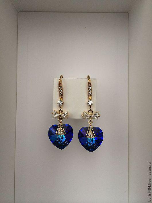 """Серьги ручной работы. Ярмарка Мастеров - ручная работа. Купить Серьги """"Кристальное сердце"""". Handmade. Тёмно-синий, фианиты"""