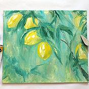 Картины и панно ручной работы. Ярмарка Мастеров - ручная работа Аромат лимонов- картина маслом. Handmade.