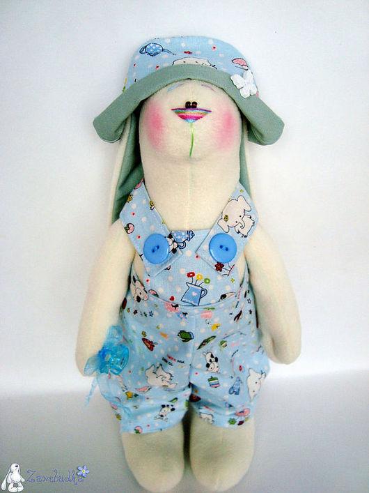 Игрушки животные, ручной работы. Ярмарка Мастеров - ручная работа. Купить Заяц Малыш в голубом костюме (45 см.). Handmade.