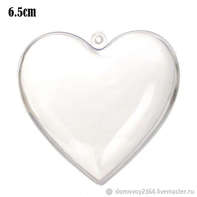 Заготовка сердце пластиковое 6,5 см, Заготовки для декупажа и росписи, Москва,  Фото №1