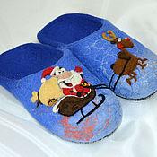 """Обувь ручной работы. Ярмарка Мастеров - ручная работа Тапки """"Санта"""". Handmade."""