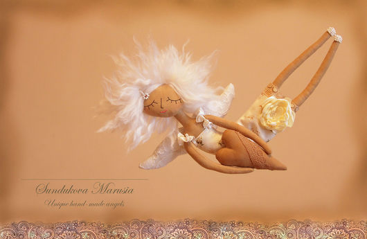 """Ароматизированные куклы ручной работы. Ярмарка Мастеров - ручная работа. Купить """"Ангел с пряничным сердцем"""" - авторская кофейная куколка. Handmade."""