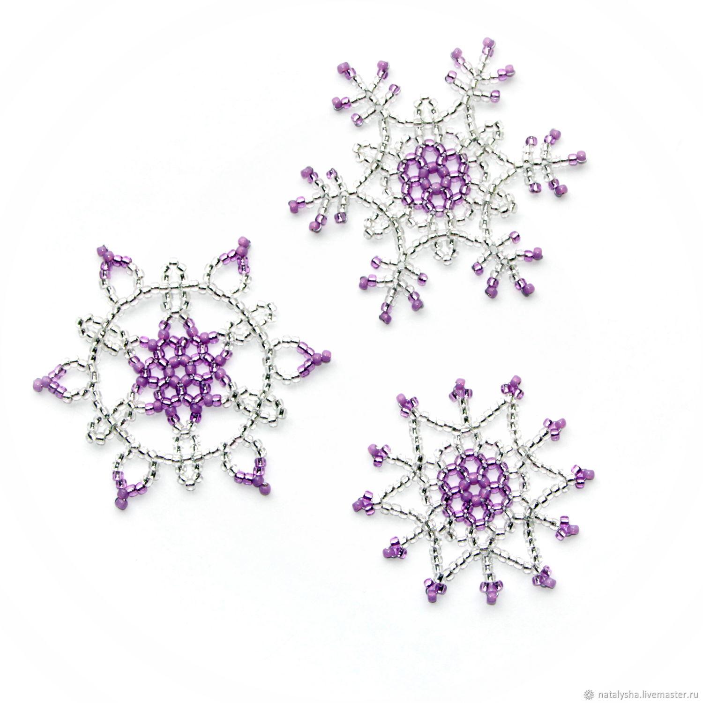 Снежинки из бисера (набор из 3 шт.), Украшения, Москва, Фото №1