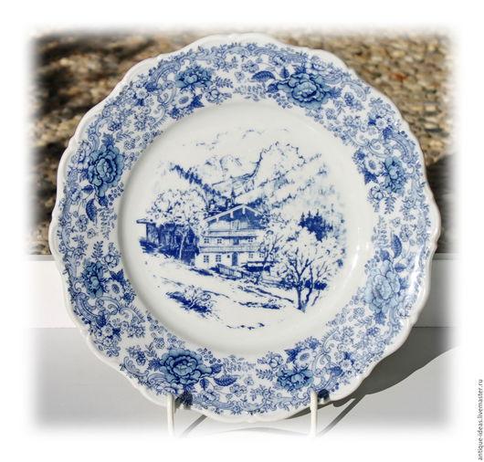Винтажная посуда. Ярмарка Мастеров - ручная работа. Купить Большие столовые тарелки Seltmann Weiden, Германия. Handmade. Тёмно-синий